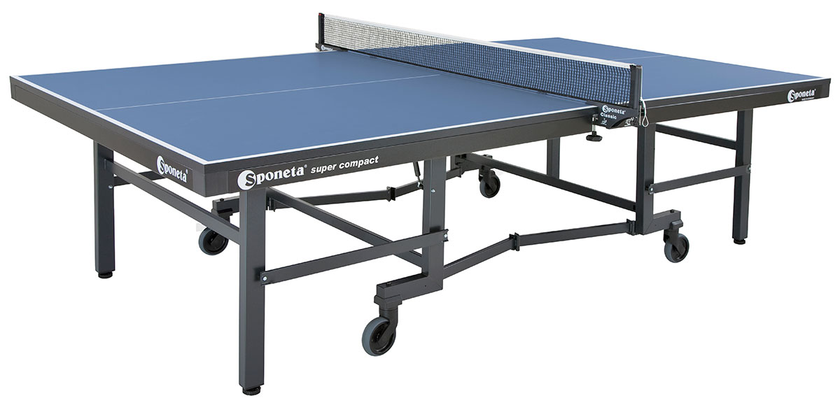 Table Tennis Table: Sponeta ChampionLine Super Compact Spacesaver Indoor  S8 37i   BLUE